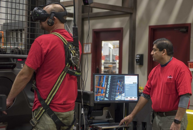 The Raymond Virtual Reality Simulator allows operators to immediately assess which associates will be successful operators, and in which applications — including those who are not dissuaded by heights.